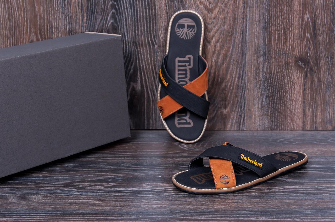 8028f6f5 Мужские кожаные летние шлепанцы Timberland Classic Black (реплика) 45