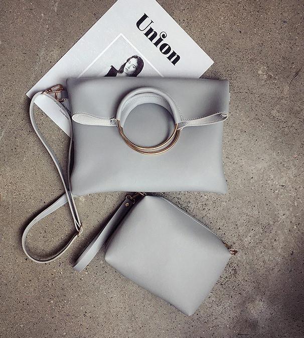 Набор женских  сумок 2в1 из мягкой экокожи серого цвета
