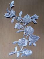 Аппликация тканевая цветы розы белые