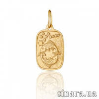Золотая подвеска знак зодиака Рыбы 390