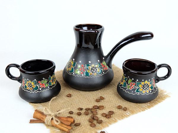 Турка Веночек керамическая в наборе с двумя чашками 500 мл