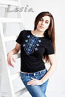 Жіноча футболка з вишивкою Хвилька синя