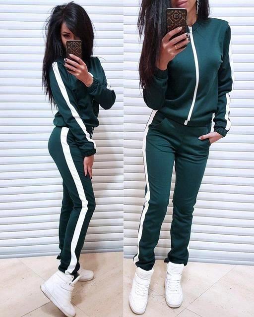 Наоми Женский спортивный прогулочный костюм на замке с белыми лампасами L-ка зеленый бутылка