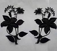 Аппликация тканевая цветы лилия черная