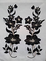 Аппликация тканевая цветы орхидея черная