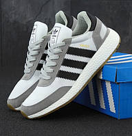 """Кроссовки мужские Adidas Iniki Runner Gray """"Серые с черными полосками"""" адидас иники 41"""