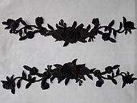 Аппликация тканевая цветы двойная роза черная