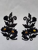 Аппликация тканевая цветы двойная ромашка черная