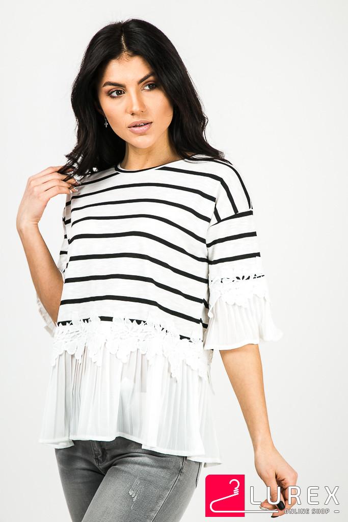 96cd3289906 Блуза в полоску с шифоновыми рукавами MsV - белый цвет