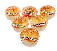 Набор из 6 декоративных гамбургеров, магнитов QS-23