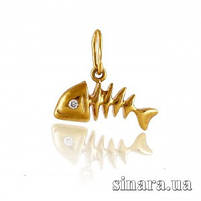 Золотая подвеска Рыбка Фишбон - Золотой кулон Рыбка, фото 3