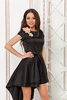 Изящное платье ассиметрия с коротким рукавом и съемным атласным цветочком