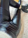 Потрясающе стильные теплые лосины леггинсы кожа на меху утепленные С-ка черные, фото 4