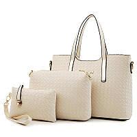 Женская сумка набор 3в1 + маленькая сумочка и клатч молочного цвета, фото 1