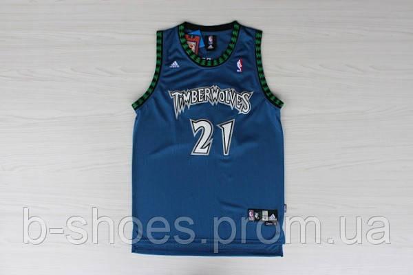 Мужская баскетбольная майка Minnesota Timberwolves Retro (Kevin Garnett) Blue