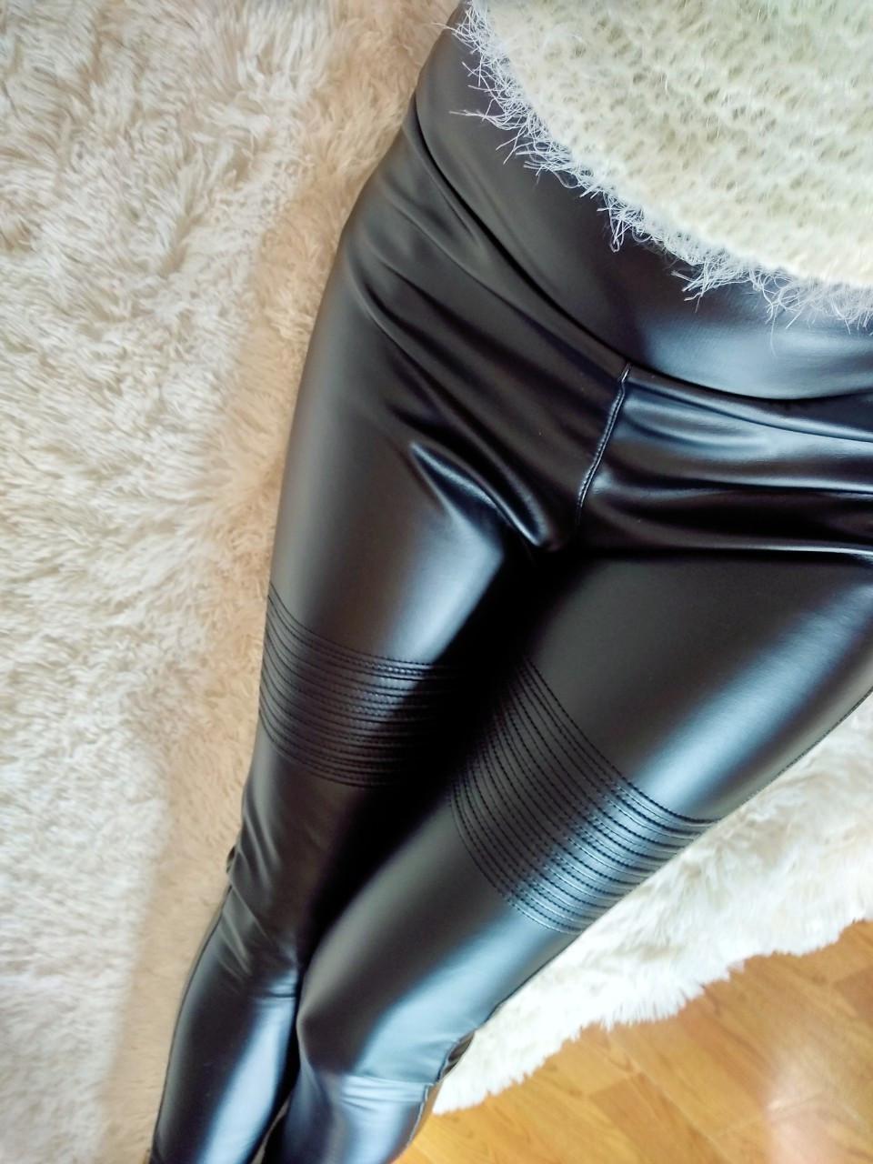 Потрясающе стильные теплые лосины леггинсы кожа на меху утепленные Л-ка черные