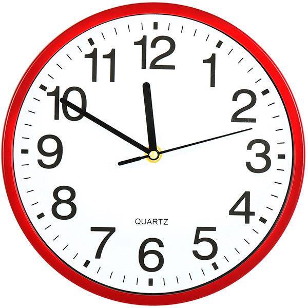 Часы настенные кварцовые 23 см красные