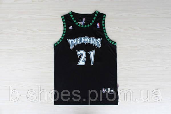 Мужская баскетбольная майка Minnesota Timberwolves Retro (Kevin Garnett) Black