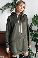 Стильное платье-худи с капюшоном женское демисезонное замшевое 42-50 размеров, 3 цвета