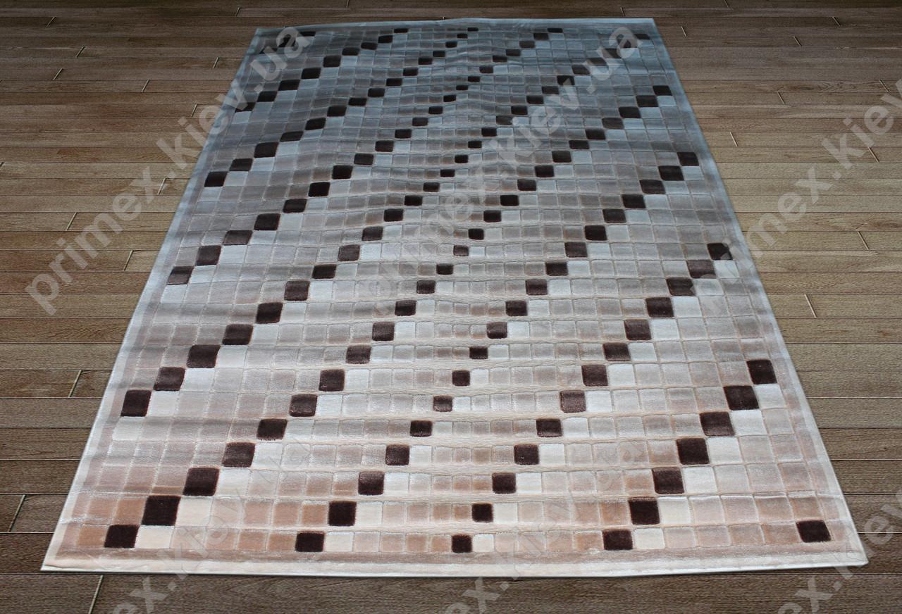 Акриловий рельєфний килим Bonita (Туреччина) мозаїка бежевий