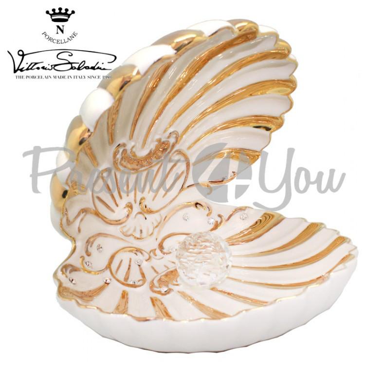 Фигурка фарфоровая Италия, ручная работа «Раковина Барокко» Sabadin, h-20 см (45402s)