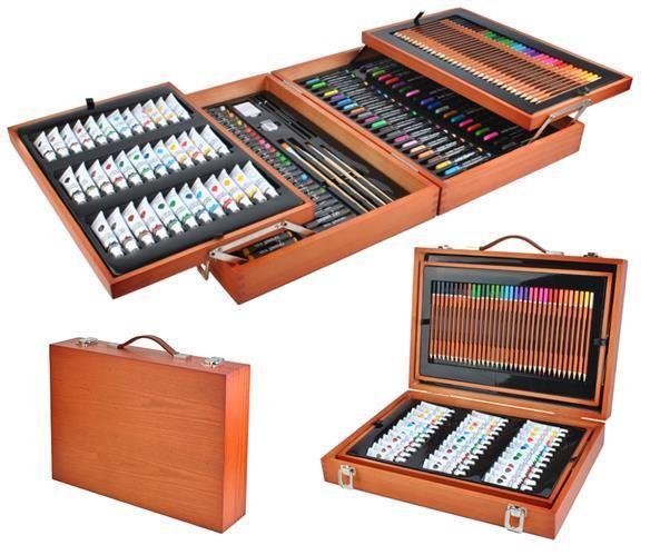 Набір для малювання 174 елементів, набір для творчості,живопису, набір для художників, валіза для малювання