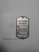 Шильдик  МВ-650М №10
