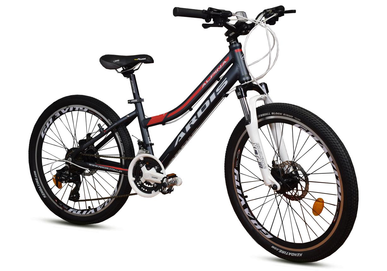 """Подростковый велосипед ARDIS """"ALPINA"""" 24"""" алюминиевый с дисковыми тормозами, Черно-красный"""