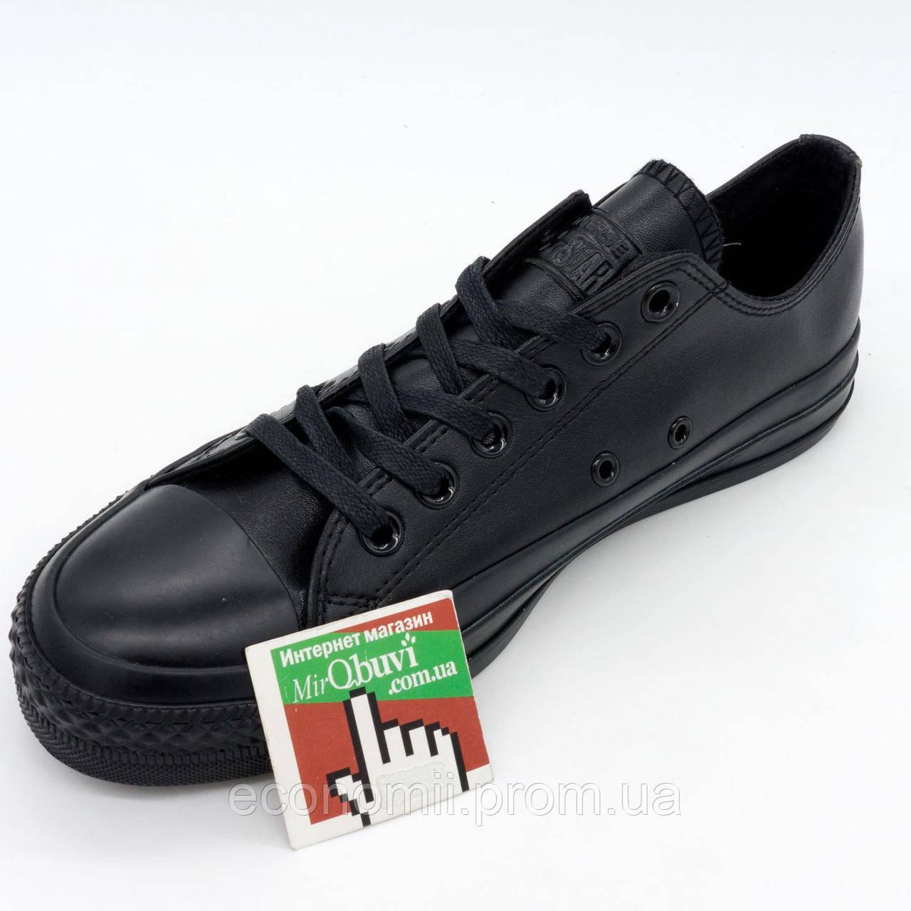Кожаные кеды Converse (Конверс) низкие полностью черные. Топ качество! р. f2d40ee3dba61