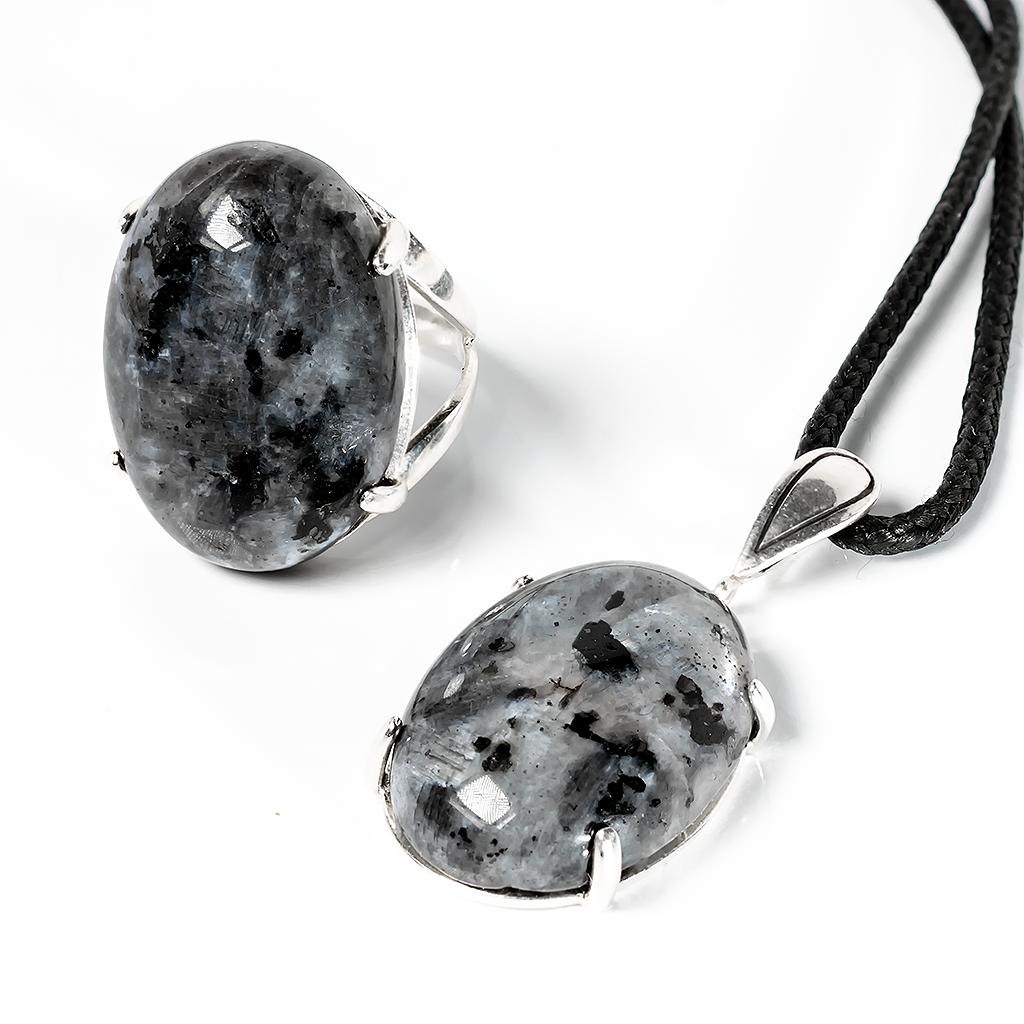 Обсидиан слезы Апачей, 25*18 мм., серебро 925, комплект кольцо и кулон, 079КМО