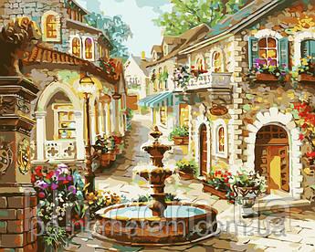 Картина за номерами Menglei Площа фонтанів MG1113 40 х 50 см 950 місто