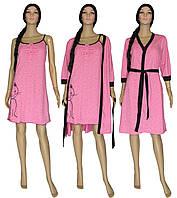 5a9c0d4d7b75970 Комплект пеньюар 18056 Fanny Cat Pink Melange стрейч-коттон, ночная рубашка  и халат,