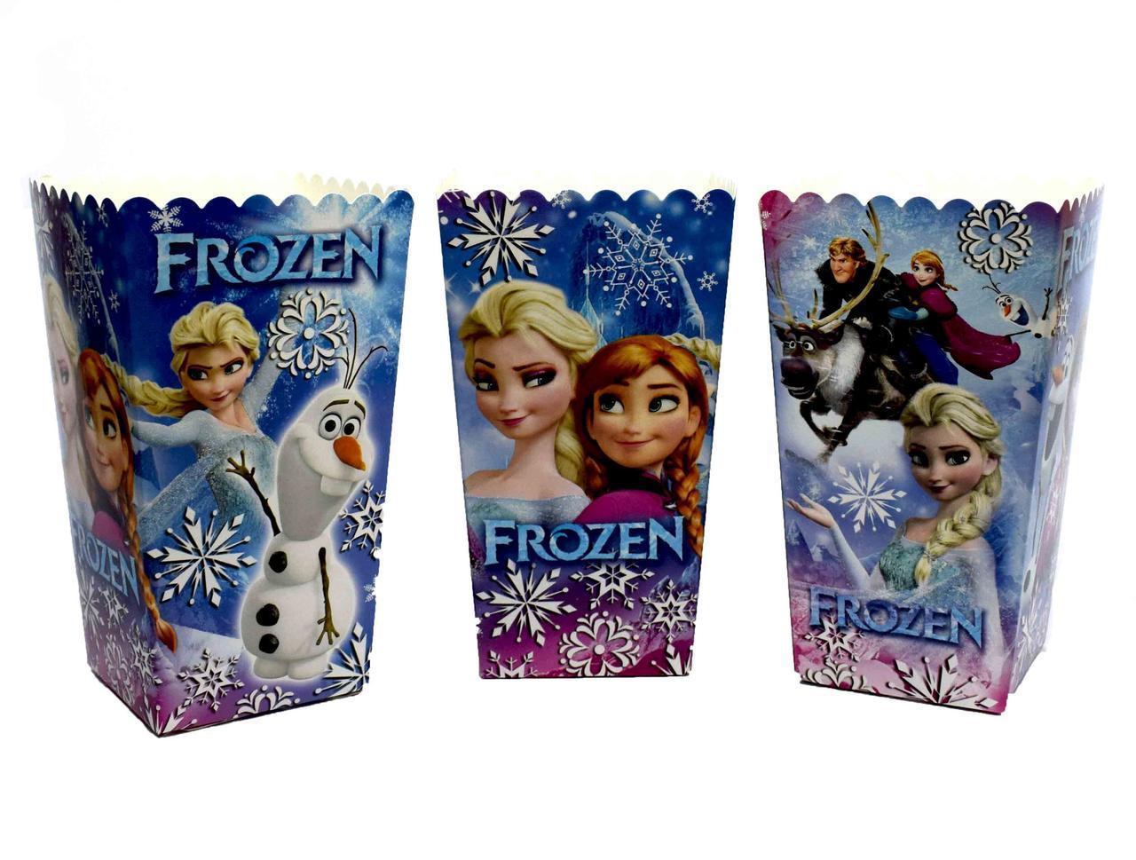 Коробочки стаканчики паперові для солодощів і попкорну Холодне серце 5 штук