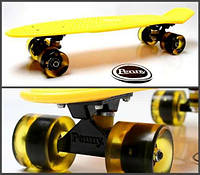 Penny Board. Classic. Yellow. Светящиеся колеса!, фото 1