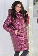 Женская демисезонная куртка M522 больших размеров вишневая