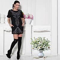 Короткое платье из креп-коттона с перфорацией G7196