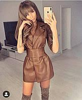 Женское модное платье-кардиган из эко-кожи
