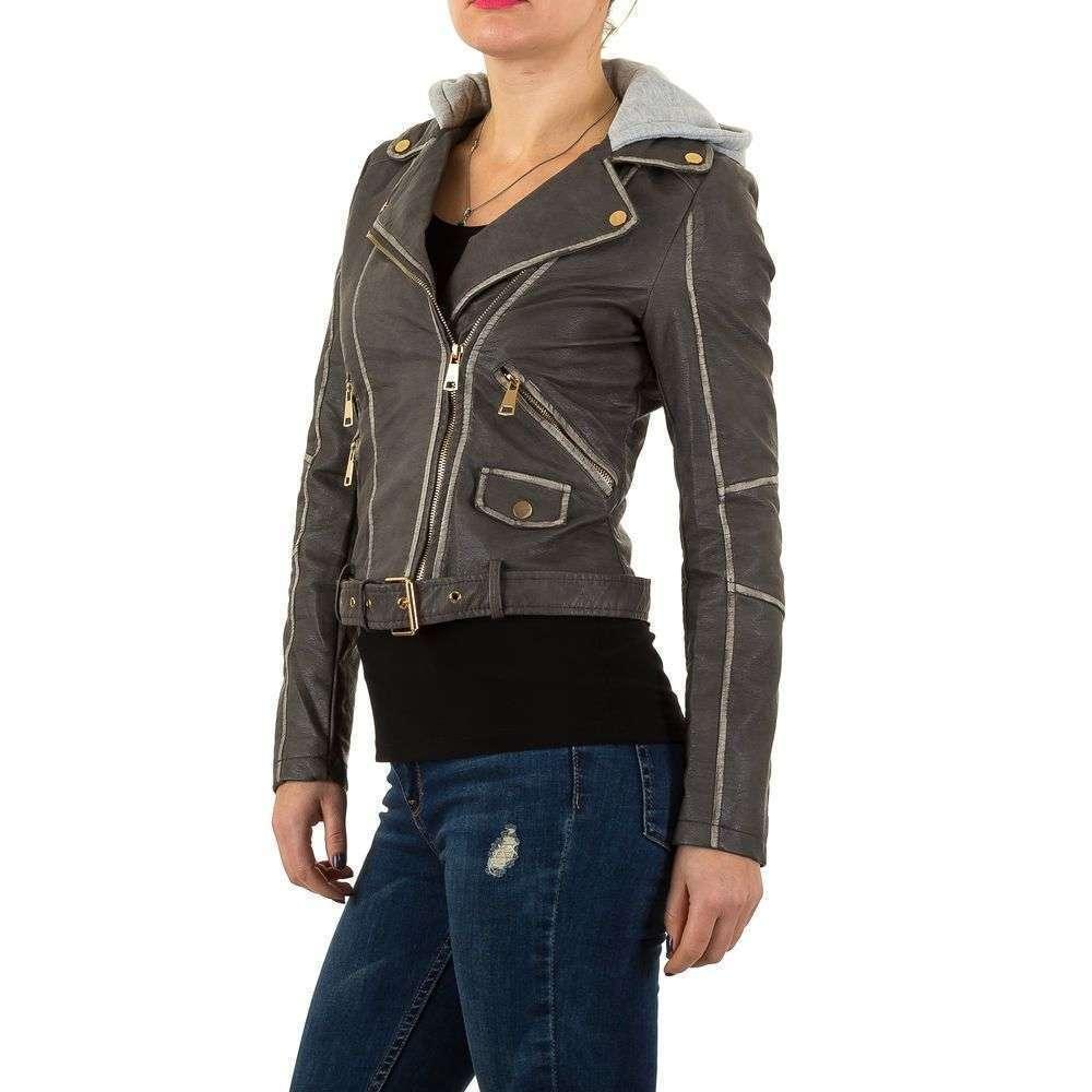Байкерская куртка женская с капюшоном и контрастной строчкой (Европа), Серый