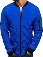 ce2d4714bd6 Куртка мужская весенняя J.Style стеганая цвета электрик с воротником рибана