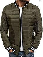 cf0849a4648 Куртка мужская весенняя J.Style стеганая оливковая с воротником рибана