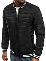 7daec6eb938 Куртка мужская весенняя J.Style стеганая черная с воротником и манжетами в  полоску