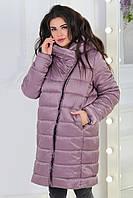 Куртка одеяло деми oversize баталM522 сливовый беж