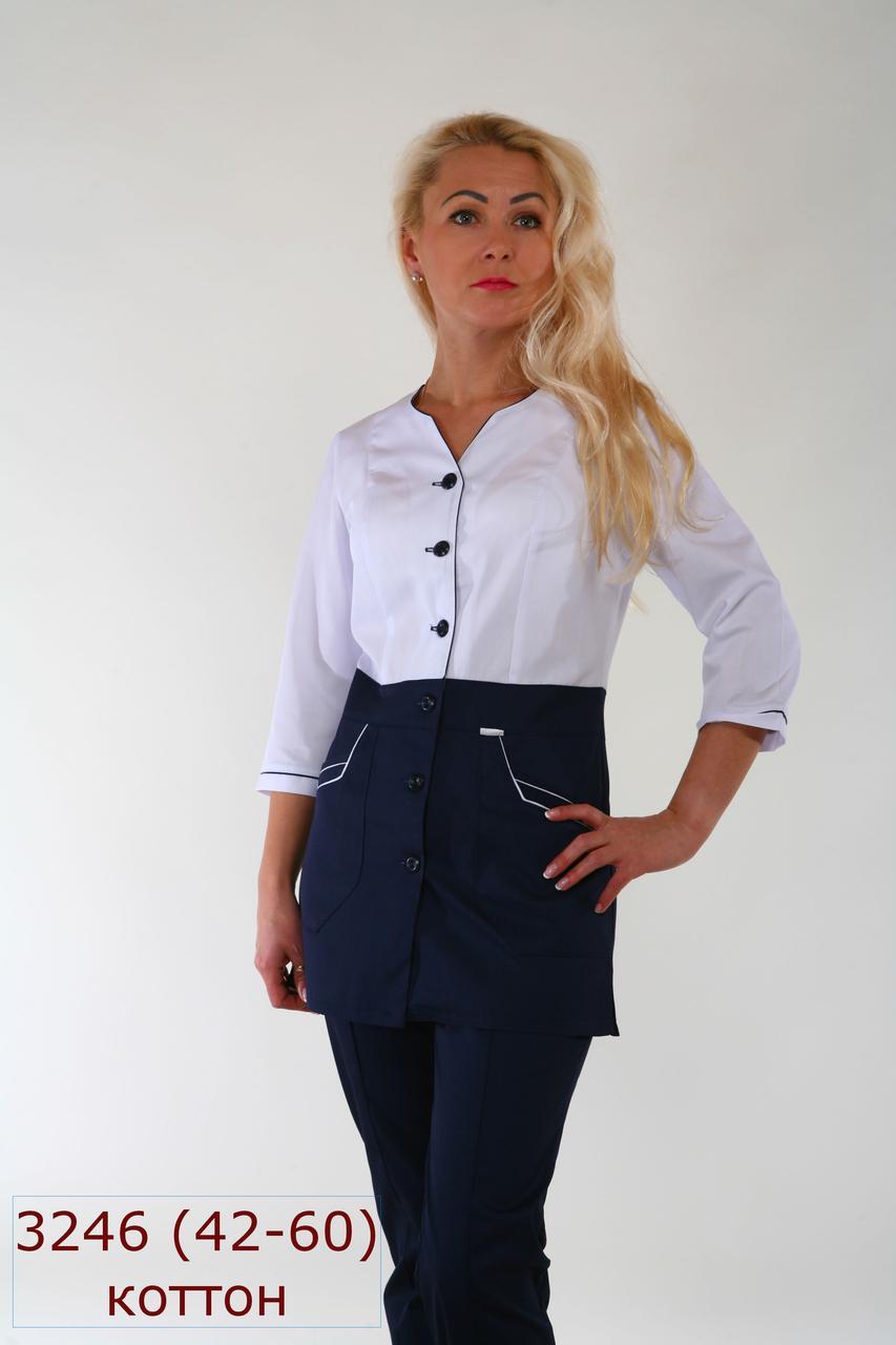 Женский медицинский костюм 3246 новинка,куртка на пуговицах,брюки прямые на резинке,рукава 3/4, батист, 42-60