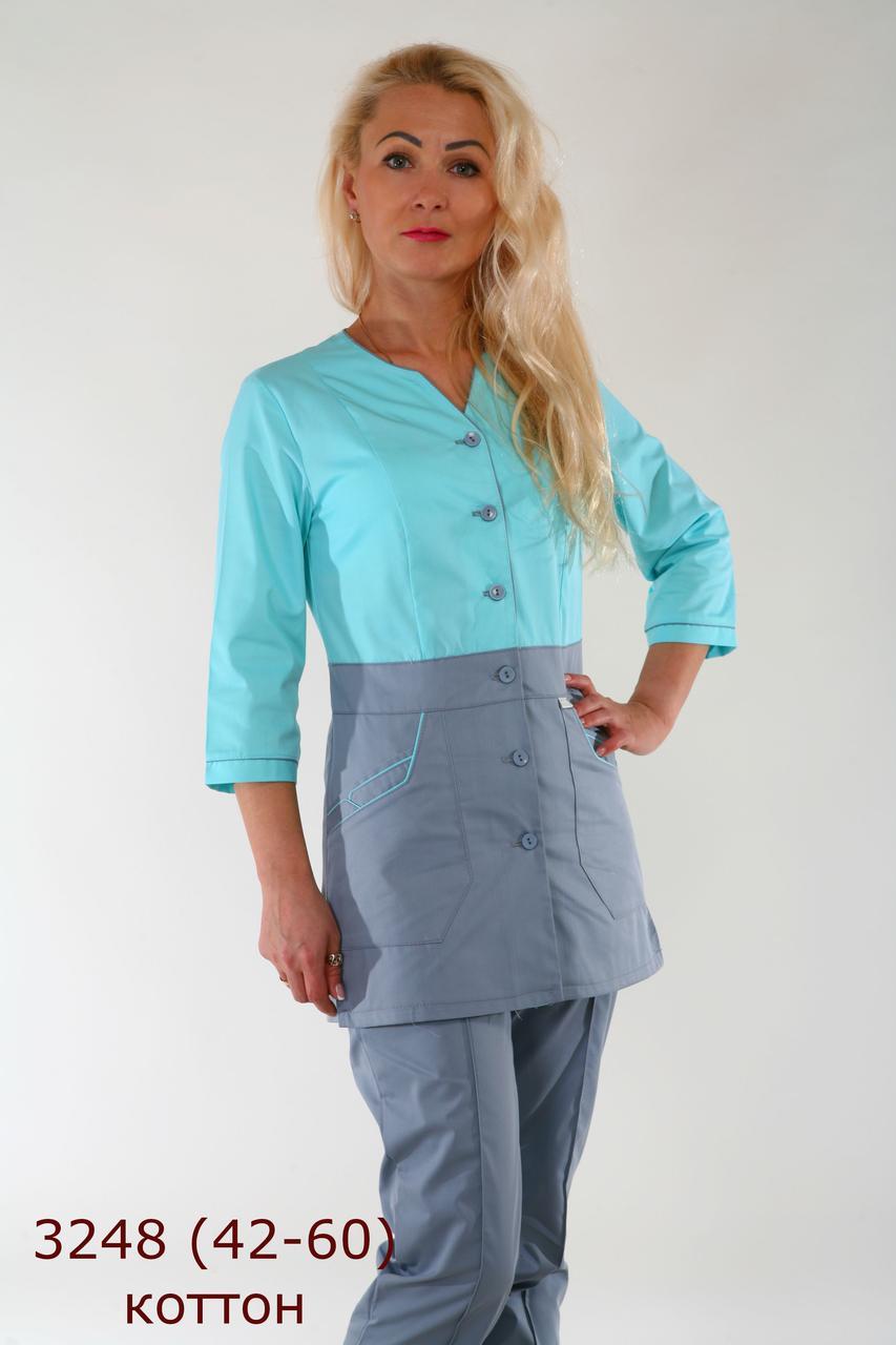Жіночий медичний костюм 3248 новинка,куртка на гудзиках,брюки прямі на резинці,рукава 3/4, батист, 42-60