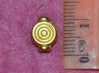 Бусина металлическая 13000 золотистая (уп. 10 шт)