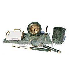 Набор настольный з зеленого мрамора «Бургомистр», 4 предмета (123-0185)