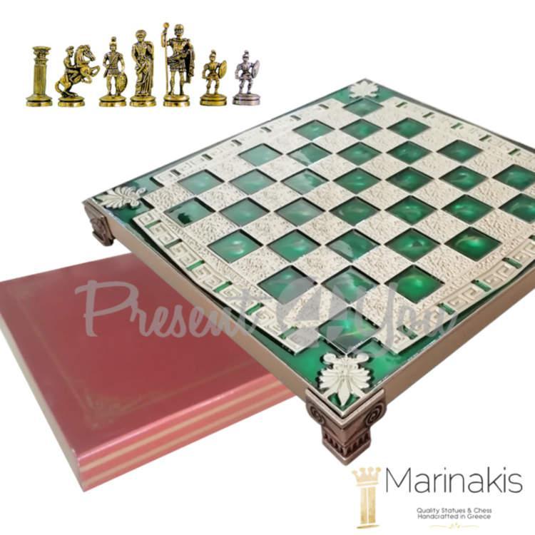 Шахматы Marinakis «Римляне», 32х32 см, зеленые (086-3514KG)