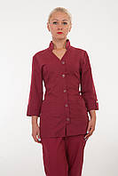 Медицинский костюм бордового цвета 2211 ( батист 42-60 р-ры )