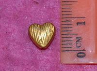 Бусина металлическая 13001 золотистое сердце (уп. 10 шт)