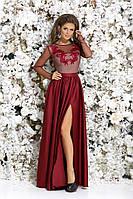 Красивое женское платье в пол с шелковой юбкой и верхом из сетки с вышивкой 42, 44, 46